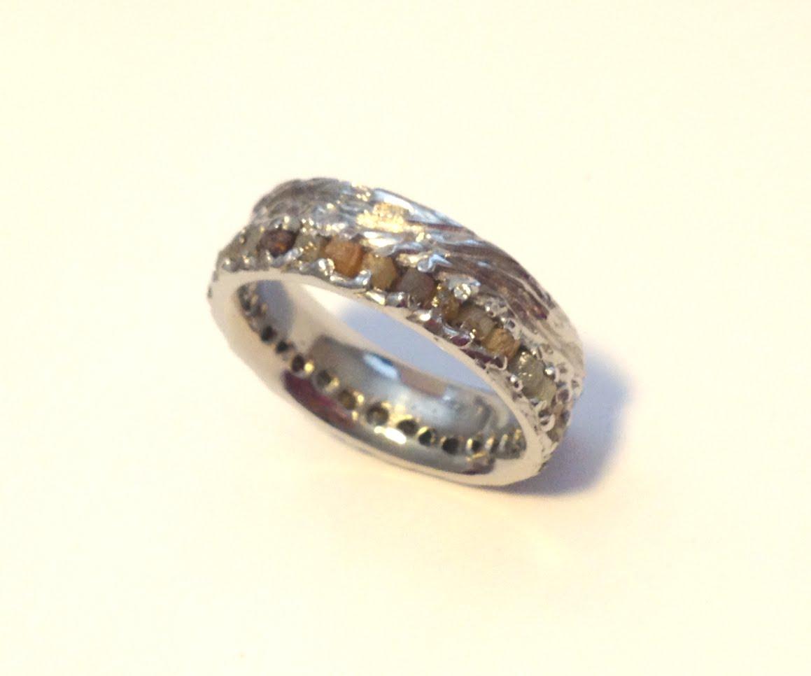 Turquoise Inlay Wedding Band 91 Cute Natural rough cut diamond
